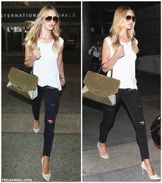 Rosie Huntington-Whiteley  street style 2014;summer 2014 outfit ideas; My new handbag obsession; distress jeans style