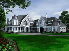 Newport Masterpiece with Finished Walkout - 23415JD | 2nd Floor Master Suite, Butler Walk-in Pantry, CAD Available, Cape Cod, Corner Lot, Country, Den-Office-Library-Study, Elevator, In-Law Suite, Luxury, MBR Sitting Area, Media-Game-Home Theater, Multi Stairs to 2nd Floor, PDF, Photo Gallery, Premium Collection, Shingle, Sloping Lot, Wrap Around Porch | Architectural Designs