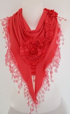 Coral pink  Jersey Rose Shawl/ Scarf  Headband by TrendyTextile,