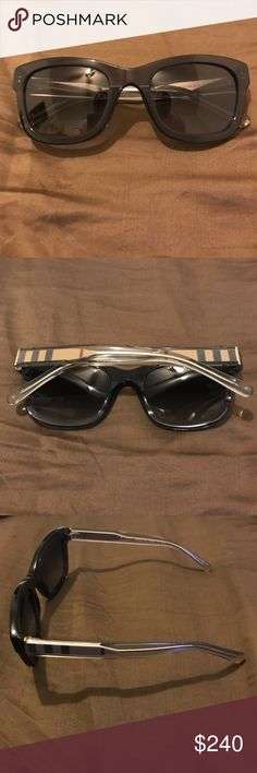 Burberry Unisex Wayfarer Sunglasses Unisex Burberry Wayfarer Sunglasses. Black lenses and frame. Tan Burberry Plaid arms. Made in Italy. Please make a REASONABLE offer. Case NOT included but will be carefully wrapped and shipped.  BNWOT. Burberry Accessories Sunglasses