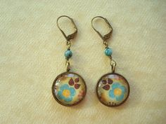 Flower under Glass Earrings. Brass and Turquoise Stone.