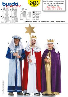 Simplicity Creative Group - Burda Style, 3 Holy Kings. Can I have these done by 3 Kings Day? Hm....