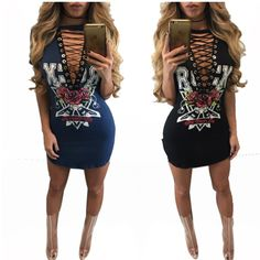 >> Click to Buy << 2016 American Style Solid Fashion Lace Up T Shirts V Neck Women Sexy Long Tops Plus Size Rose Print Kawaii T-Shirt for Ladies #Affiliate
