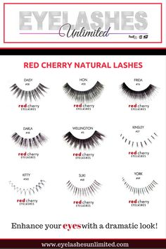 fd500b4e695 The Red Cherry Natural Lashes come in a variety of styles which are sure to  complement
