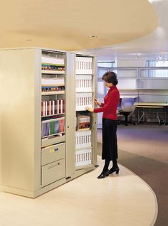 Rotary Storage Cabinets for Binder and File Storage. Office file storage in a rotary storage unit that can be locked for security when not in use.