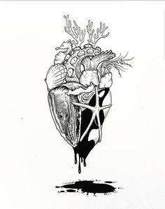 Ocean heart tattoo drawing