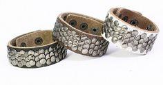 leather bracelet, leather cuff, leather cuff bracelet, studded leather bracelet, leather cuff with fish scale studs B047