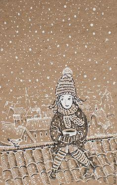 Люди, ручной работы. Ярмарка Мастеров - ручная работа. Купить Зимние крыши. Девочка и снег.. Handmade. Белый, снежинка, зима