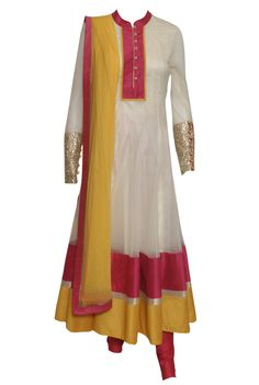A pearly white anarkali with pink and yellow border