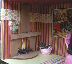fireplace for cardboard dollhouse