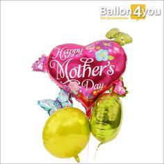 Großes Muttertagsbukett mit Herzen und Schmetterlingen       Wie kann man einen riesigen Herzballon mit kleinen Luftballons noch besser machen? Indem man einfach zwei weitere Herzballons mit kräftigen Farben hinzufügt. Genau das haben wir bei diesem Ballonbukett zum Muttertag gemacht.