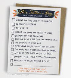 Checklist Father's Day Card