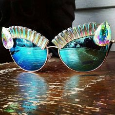 Super ultra Glam glasses made with beautiful glass AB rhinestones and trim Festival Gear, Festival Camping, Festival Fashion, Sunnies Sunglasses, Mirrored Sunglasses, Rave Girls, Burning Man Fashion, Blue Fashion, Turquoise Bracelet