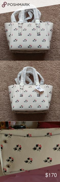 """Coach mini Crosby bramble rose handbag New with tag. #34774. Printed crossgrain leather. Zip top closure. Silver hardware. 5"""" strap drop. Dethable strap with 22"""" drop for shoulder or cross-body wear. 13.5""""L x 7.25""""H x 5.5""""D. Coach Bags"""