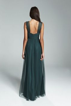Inverted v-neck bridesmaids dress from Amsale Bridesmaids. Shown in Teal and Hunter.