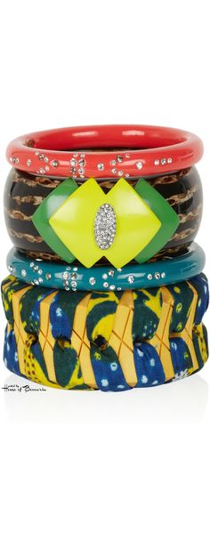 ~Lulu Frost Set of Four Bamboo and resin bangles | House of Beccaria#