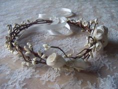 Rustic beauty Flower girl or Bridal halo crown by fromtheattic1. $38.00 USD, via Etsy.