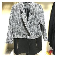 Black and White Tweed Pea Coat This jacket is chic, timeless, and will dress up any outfit. Length to upper thigh area. Fits a bit large. In perfect condition. Lush Jackets & Coats Pea Coats