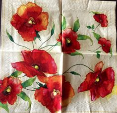 Decoupage Napkins,4+1 FREE Single  Paper Napkins,POPPIES , 9,5 inches (25cm) for Decoupage, Paper-Craft and Collage by kroshkame on Etsy