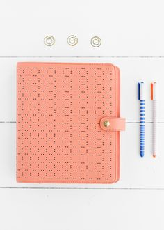 This pretty peach Planner features gorgeous perforated leather as well as tabs for your meeting notes, calendar, to do list and much more. Use it to get organised in style.