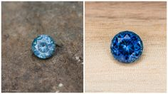 A Montana sapphire from the El Dorado Bar, before (on the left) and after heating (on the right) Gems And Minerals, Montana, Sapphire, Stud Earrings, Gemstones, Bar, Jewelry, El Dorado, Flathead Lake Montana