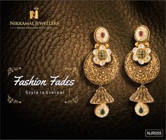 Antique Gold danglers with highlights of Kundan available at Nikkamal Jewellers Ludhiana 7 Jalandhar showrooms India Jewelry, Fine Jewelry, Antique Gold, Antique Jewelry, Chanel Pearls, Jewellery Sketches, Pendant Design, Gold Set, Bridal Jewelry