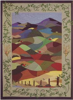 """""""Palouse Hills"""", made by the Palouse Patchers quilt guild, 1986. The rolling hills, pea vine, and wheat are representative of the Palouse region (Idaho). The full quilt can be seen at McConnell Mansion."""