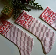 Swedish Print Stocking Ornament by CherieWheeler on Etsy, $5.00
