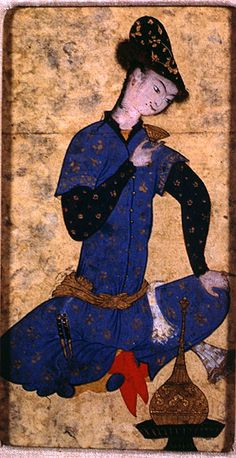 Seated youth; Persian Painting Detail, Later Safavid c. 1575