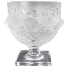 Lalique Elisabeth Satin and Clear Crystal Vase Portraying Birds in Branches | From a unique collection of antique and modern vases and vessels at https://www.1stdibs.com/furniture/decorative-objects/vases-vessels/