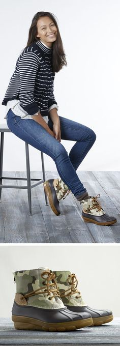 Sperry Limited Edition Camo Duck Boots || Casual Fridays never saw this coming: A limited edition camo Saltwater that can be dressed up or down.  Comfy enough to kick back post-work, but put together enough for bar hoping with the crew. Shop women's fall fashion today at Sperry.com.