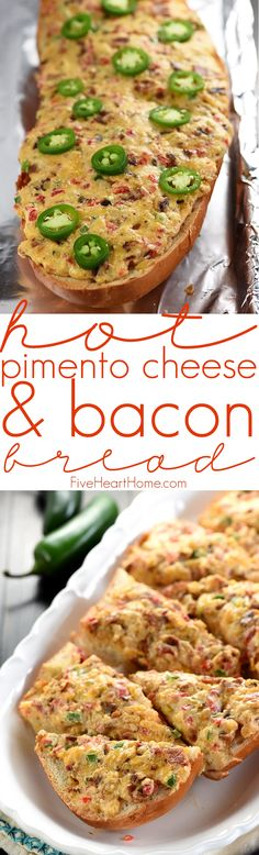 Hot Pimento Cheese & Bacon Bread ~ creamy, homemade pimento cheese is jazzed up with crispy bacon and zippy jalapeños, spread onto French bread, and baked until bubbly in this drool-worthy appetizer, perfect for gameday, parties, or simply snacking! | FiveHeartHome.com
