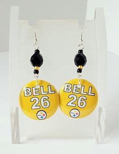 Pittsburgh Steelers Number 26 Bell Button Earrings