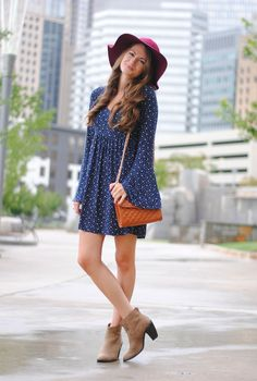 Cute fall look… love the floppy hat!  It reminds me of the 90's.  I miss baby doll dresses.  I would change the pattern/color of the dress though.  Maybe to an olive green...