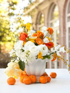 citrus and flowers arrangement