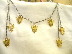Unique Tiny Angel Set, Handmade Earrings and Necklace, Gold Plate, Choose Earring Length, and Up To 7 Angel Necklace, All Same Price by AmericanPewterWorks on Etsy