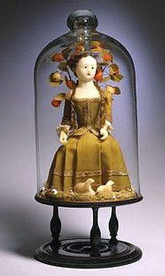 18th Century sitting Wax Doll under Glass