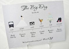Visual #wedding itinerary of where to be and when!