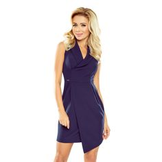 Dress with wide collar and asymmetrical skirt in dark blue. Pleasant to the touch material Polyester 30 % ~Viscosa 70 % Size Round w hipsch Round w bust Round w waist L 102 cm 92 cm 72 cm M 98 cm 88 cm 68 cm S 94 cm 84 cm 64 cm XL 106 cm 96 cm 76 cm Latest Fashion Trends, Fashion News, Day Dresses, Dresses For Work, Brown Skirts, Asymmetrical Skirt, Long Sleeve Mini Dress, Fashion Company, Skirt Fashion