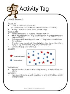 Activity Tag - free download  Instructions & activity cards to use for this fitness game.