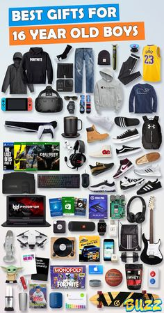 See 100+ teen boy gifts for 16 year old boys. Discover COOL and unique gifts for Birthdays, Christmas, and other occasions for your 16 year old teen boy. #birthdaygifts #christmasgifts Birthday Presents For Teens, Teen Presents, Best Birthday Gifts, Best Gifts For Boys, Cool Gifts For Teens, Gifts For Dad, Birthday Games, Teen Birthday, Birthday Ideas