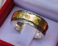 Silver And Gold Spinner Ring ,Handmade Wedding Band ,Unique Spinner Ring ,Bride and Groom Spinner Ri Gold And Silver Rings, 14k Gold Ring, Sterling Silver Rings, Peridot And Amethyst, Groom Ring, Silver Engagement Rings, Spinner Rings, Wedding Ring Bands, Gold Jewelry