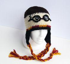 Crochet Harry Potter Earflap Hat with Tassels, Gryffndor, Muggle, Potterhead by TampaBayCrochet on Etsy