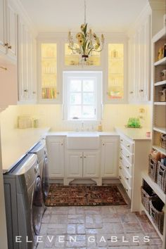 multi-tasking laundry room that serves as a pantry, craft closet, wrapping station, and laundry room in one!