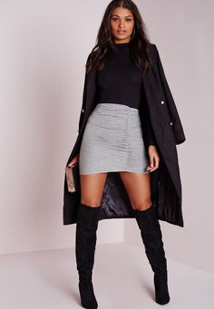 Missguided - Ruched Mini Skirt Grey