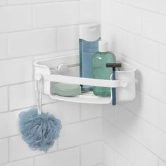 Helping to keep your shower essentials organised; discover the Umbra Flex Gel-Lock Corner Bin, White. A simple storage solution for your shower, it features a patented Gel-Lock Technology and twist-to-grip suction cups which create a vacuum seal for extre Bathtub Drain, Bathtub Shower, Bathroom Showers, Corner Shower Caddy, Shower Storage, Bathtub Storage, Small Showers, Bathroom Organisation, Organized Bathroom