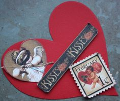 A Valentine card with pieces of Graphic 45 Place in Time February.