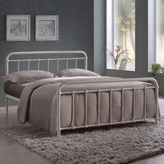 The cream metal Arabella king size bed frame has a traditional shape that resembles a vintage style hospital bed. A modern bed for you to enjoy a brighter tomorrow. Fabric King Size Bed, Wooden King Size Bed, King Size Bed Frame, Metal Double Bed, White Metal Bed, Double Beds, Ottoman Storage Bed, Bed Storage, Hospital Bed