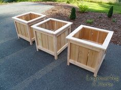 """How to build large cedar planter boxes project is detailed in this tutorial.  To reduce the cost of this project, you may entertain the idea of using reclaimed wood from wood pallets. When using wood pallets for projects, look for a """" HT """" stamped upon the pallet.... it means it is heat treated NOT chemically"""