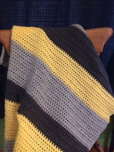 Crocheted Striped Baby Blanket, Yellow and Grays on Etsy, $35.00